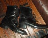 Vintage Scruples Boots Black Leather Granny Lace Up Boots Boho Grunge Hippy 1980s 1990s Size 8.5 8 1/2