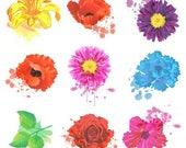 CIJ SALE Grunge Flowers Clipart Clip Art, Watercolor Flowers Clipart Clip Art - Commercial and Personal Use