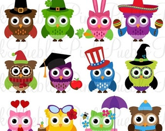 BACK TO SCHOOL Sale Holiday Owl Clipart Clip Art, Seasonal Owls Clipart Clip Art Vectors - Commercial and Personal