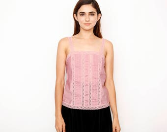 Purple Pleated Lace Cami
