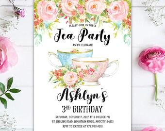 Tea Party Girl Birthday Invitation, Shabby Chic Floral Birthday Tea Party Printable Invitation