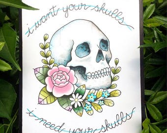 ORIGINAL PAINTING Skulls Misfits Punk Rock Tattoo Flash Watercolor Painting by Michelle Kent