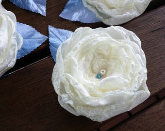 Upcycled flower hair clip