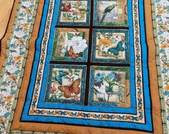 Butterfly Bird Handmade lap quilt 56 x 70