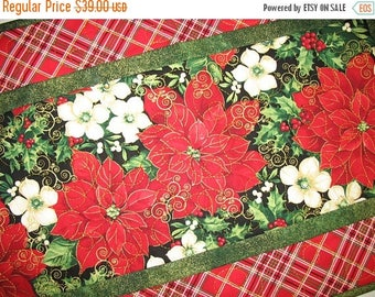 Sale Christmas in July Christmas Table Runner,  Poinsettias, quilted, handmade, red plaid, fabric Timeless Treasures