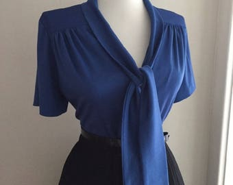 Vintage 1960s Blouse w Bow + Navy Blue  Shirt + Short Sleeve Blouse That Ties + Mad Men Pin Up Top + Sailor Style