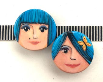BLUE HAIR GIRLS hand painted magnet set