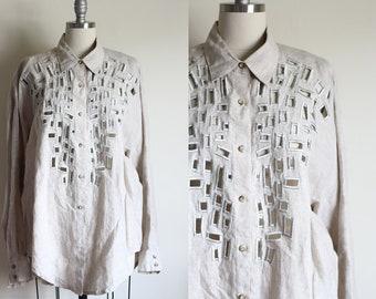 Vintage Linen Tunic Blouse / Cut Out Blouse / Ann Tjian for Kenar / 90's Vintage Blouse / Minimalist Modern
