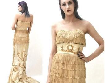 SALE Vintage 50s Fringe Dress Evening Gown Silk Cream Sequin Dress by Edward Abbott Cream 1950s Flapper Showgirl Wedding Dress