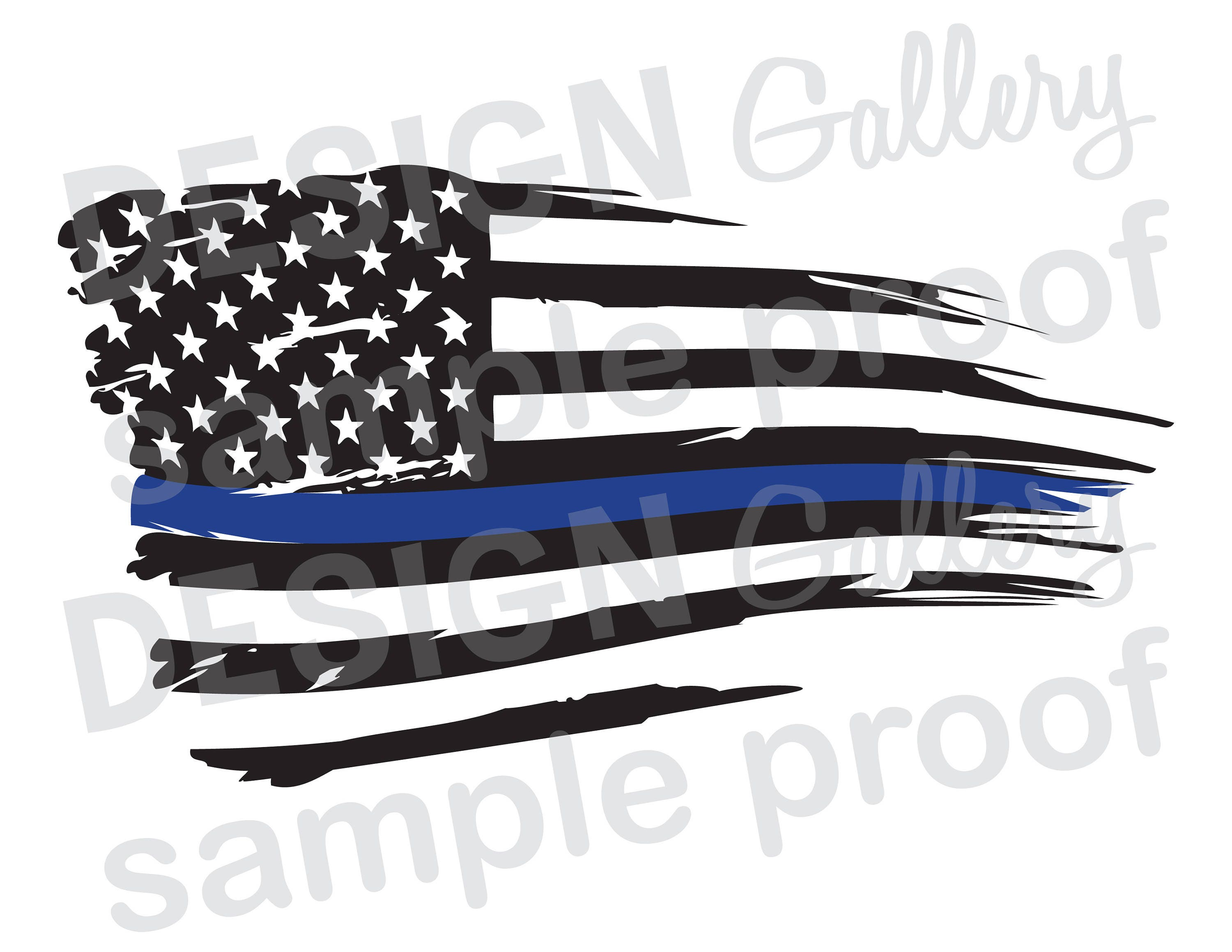 American Flag Thin Blue Line Distressed Rippled Wave