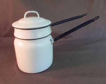 Granite Double Boiler with Lid - White with Blue Handles and Trim - Vintage Enamelware - DK32N