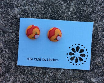 Covered Button Earrings - red and orange flower