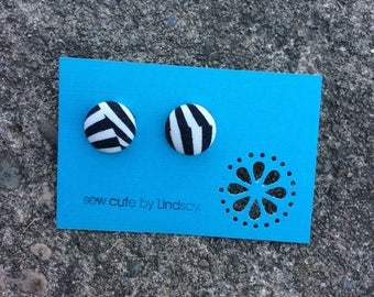 Covered button earrings - Tula Pink Slow and Steady - Black and White Stripe