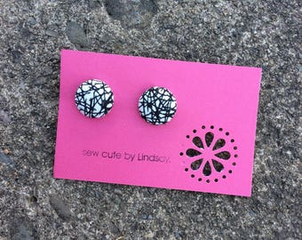 Covered Button Earrings - Alexander Henry - black and white