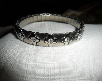 Vintage Stainless Steel CZ Stretch Bracelet