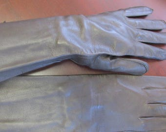 Vintage Dark Brown Leather Gloves US Army Air Forces with Gathered Wrist - Women's Gloves, Leather Gloves, Driving Gloves, Size 9 RARE