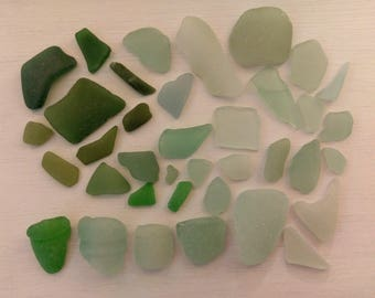 Scottish Sea Glass - Green and Blue Collection Mixed Sizes for Crafting Supply for Mosaic Jewellery Making