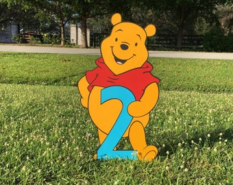 Winnie the Pooh Second Birthday Standup, standee, photo prop, Winnie the Pooh Baby Shower, Pooh Nursery