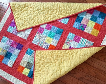 Baby Quilt, Toddler Quilt, Quilted Car Seat or Carrier Cover, Baby Floor Play Quilt Mellon and Multicolor Patchwork, Perfect for wheel chair