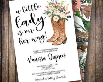Little Lady Baby Shower Invitation Girl, Floral, Rustic, Cowgirl Boots, Boho Flower Printable Invite, Bohemian, Feathers, Pink, Green, 806