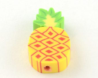 Polymer Clay Beads Pineapple Beads Fruit Beads 16mm Beads Large Beads Pineapple Jewelry Making 10 pieces