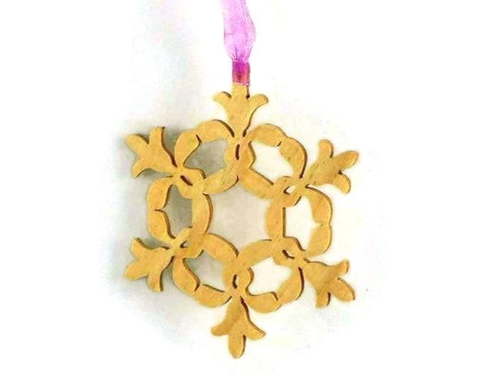 Snowflake Christmas Ornament Handmade From Birch Wood