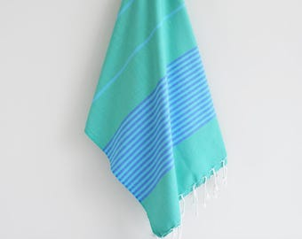 NEW / SALE 50 OFF/ BathStyle / Turkish Beach Bath Towel / Green Blue / Wedding Gift, Spa, Swim, Pool Towels and Pareo