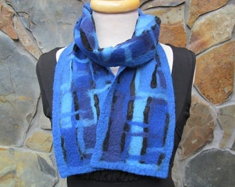 Nuno felt scarf:  fiber painting in shades of blue