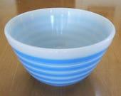 Pyrex Mid-Century Mod Blue Rainbow Stripe Small Mixing Bowl #401