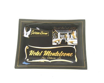 Black Bent Glass Serving Tray Small Smokey Barware Man Cave Hotel Monteleone New Orleans French Quarter Swan Room Carousel Bar Souvenir