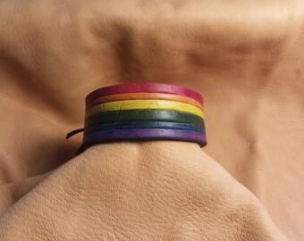 Leather Rainbow Bracelet