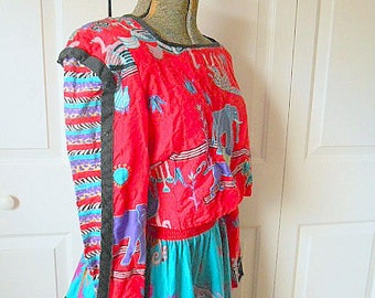 Vintage 70's cotton bold print Skirt and Top