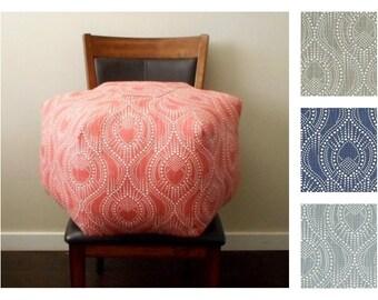 Custom Pouf Ottoman / Grey, Navy, Blue or Scarlet, Floor Pouf - Geometric Dot Print - Floor Cushion - Foot Stool - Dorm Decor - Housewarming