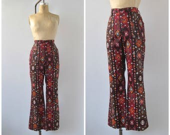 MAVERICK Vintage 70s Pants | 1970's Maverick Denim Flare Leg | Southwest Pattern | Button Front Bell Bottoms | Hippie, Boho | Large Waist 33