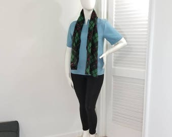 Green, black and red fleece plaid scarf