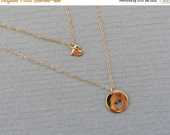 SALE - GOLD Heart Necklace Set, Matching Necklace, Sister Jewelry, Big Little Sorority Sister, GOLD Heart Necklace,  Daughter Gifts, Mom Jew