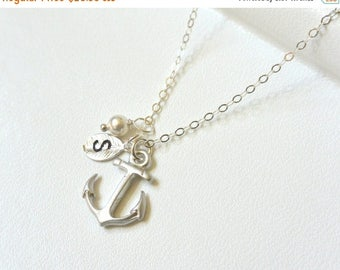SALE - Silver Anchor Necklace Personalized Anchor with Initial Hand Stamped Leaf, Nautical Theme, Navy Necklace, Bridemaid Jewelry
