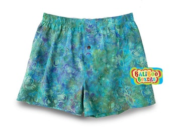 Pretty Floral Pajama, Womens Sleepwear, Blue Floral Pajama Shorts, Floral Boxers, Womens Pajamas