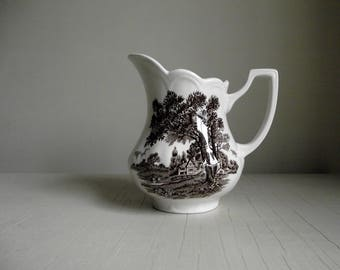 Meakin Ironstone Creamer , Romantic England Creamer by J & G Meakin England , Vintage Brown Transferware , Replacement China