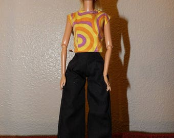 Must have solid black pants & orange, purple and yellow top for Fashion Dolls - ed1013