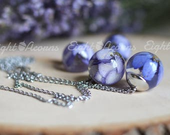 Flower necklace- blue delphinium nature inspired jewelry, real flower necklace, flower necklace nature lover gift