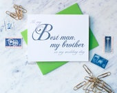To My Best Man, My Brother On My Wedding Day Card / Classic Script / Wedding Calligraphy / Wedding Card For Brother / Bridal Card Stationery