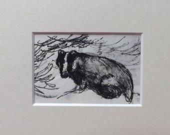 "Badger- ""Sleekit"" - Original Monoprint - OOAK"