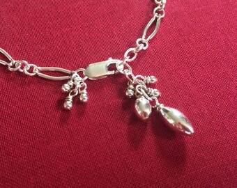 Delicate Silver Chain Cluster Bracelet Thin Adjustable Sterling Silver Curved Link Bracelet Layering Bracelet Silver Dangle Bracelet