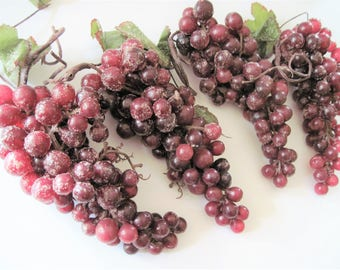 Plastic Grapes, Artificial Grapes, Sugared Purple Grapes, Red Plastic Grapes, Ornamental Grapes, Decorative Grapes, Sugared Grapes, Grapes