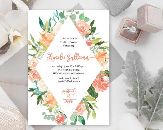 Peaches and Cream Floral Greenery Bridal Shower Invitation - Baby Shower Invitation - Geometric Hydrangea Invitation Watercolor Printable