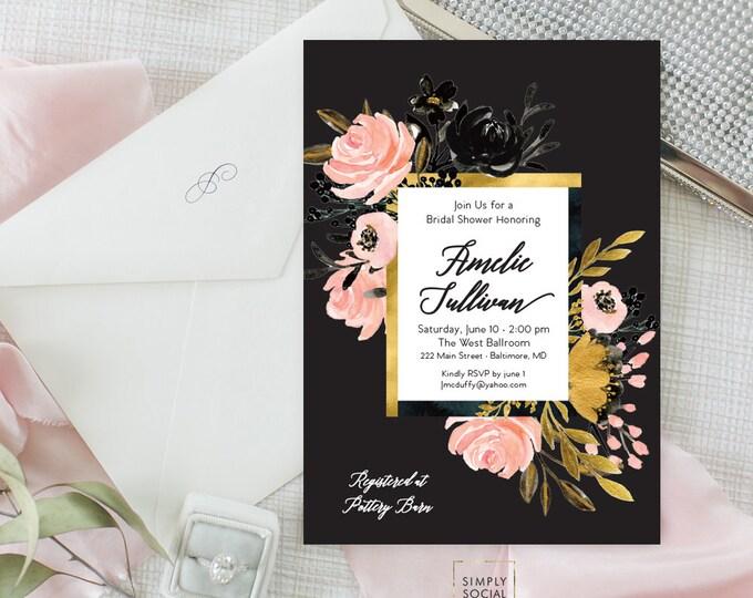 Blush Gold Black Floral Bridal Shower Invitation - Garden Shower - Baby Shower Invitation - Peony Roses Blush Watercolor Printable