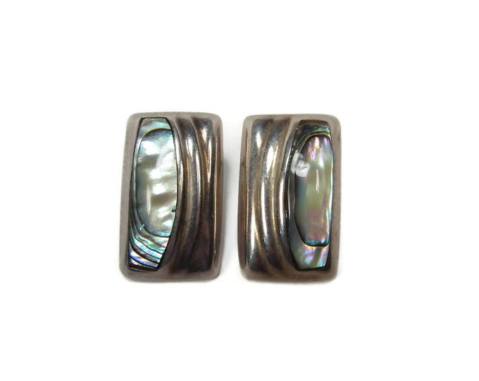 Vintage Mexican Silver Sterling Silver Abalone Shell Earrings,