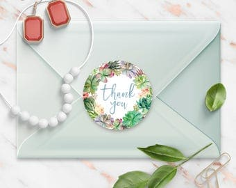 Thank You stickers, Tropical Succulent Floral Watercolor Wreath, Round Cut Sticker for Etsy Sellers, Wedding, Party, Matte Lamination Finish