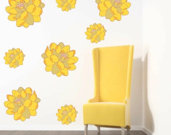 Triangle Wall Decals Triangle Stickers Geometric Decal - Yellow flower wall decals